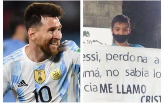 Un hincha de 11 años sorprendió a Lionel Messi en Ezeiza con un desopilante cartel
